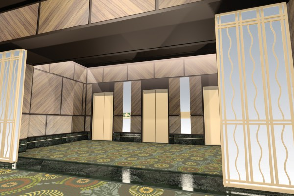 100 East Huron Street Interior Design - Elevator Lobby